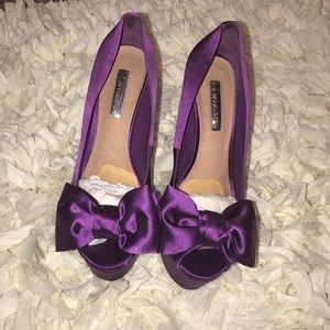 Purple Satin Bow Pump